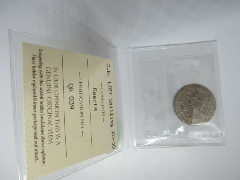 Great Britain 1787 Shilling, Hearts, ICCS Certified AU