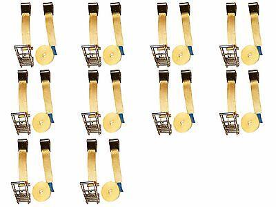 Ten 10x 2 X 27 Ft Flat Hook Ratchet Tie Down Assemblies Trailer Tow Strap