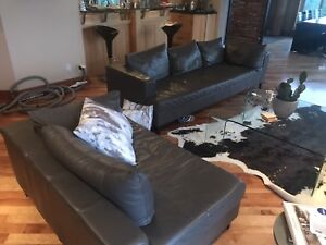 EQ3 Grey Leather sectional. Great condition and comfortable!
