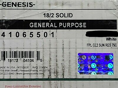 Honeywell Genesis Cable 4106 182c Solid Fpl Cl2 Fire Alarm Wire White 100ft
