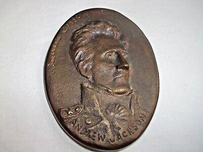 Vintage Bronze Medallion Andrew Jackson   Loura Jane Herndon Baxendale