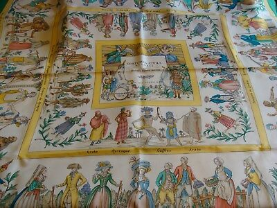 Hermes scarf. COSTUMES CIVILS ACTUELS by Francoise de la Perriere . with box - Hermes Costumes