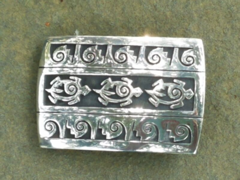 Hand-made Vintage sterling overlay buckle by Mitchell Sockyma, Hopi silversmith