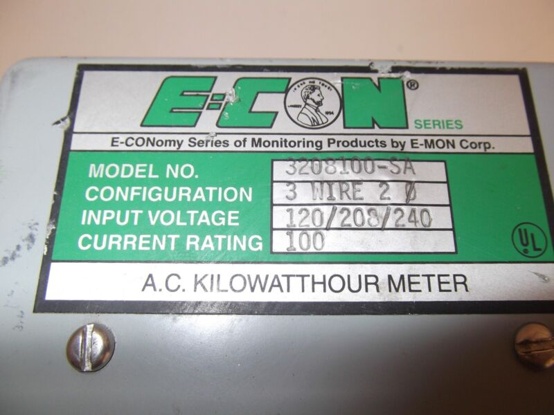 E-con 3208100-SA Single Phase KWH Meter 100AMP