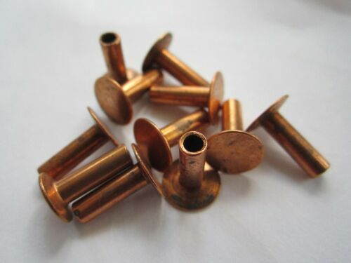 "25 VINTAGE COPPERED 7/16"" x 1/8"" SEMI HOLLOW TUBULAR RIVETS, 3/8"" HEAD"