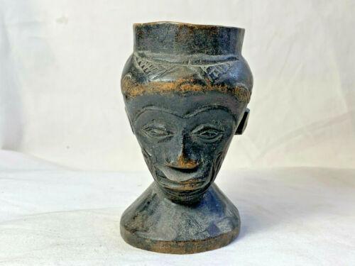 African Vtg Carved Wood Man Figure Candle Holder? Vase? Head Bust Statue Decor