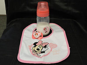 reborn baby bottle (Disney Minnie mouse 9 oz) fake milk,bib and magnetic dummy