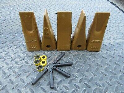 Set Of 5 Backhoe Excavator Bucket Digging Teeth Pins 1u3202 J200