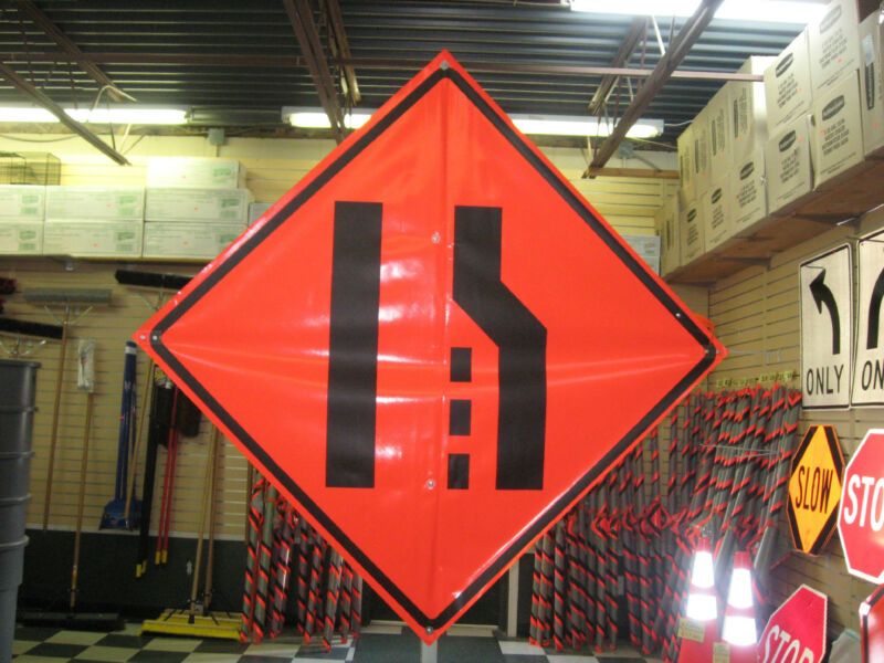 """Merge Left Symbol Fluorescent Vinyl With Ribs 48""""x48"""" Roll Up Construction Sign"""