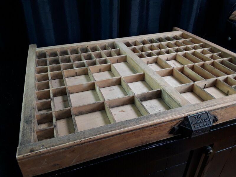 "Antique Hamilton Mfg. Co. Type Set Tray Printer Wood Drawer 22"" x 17.5"" x 1.5"""
