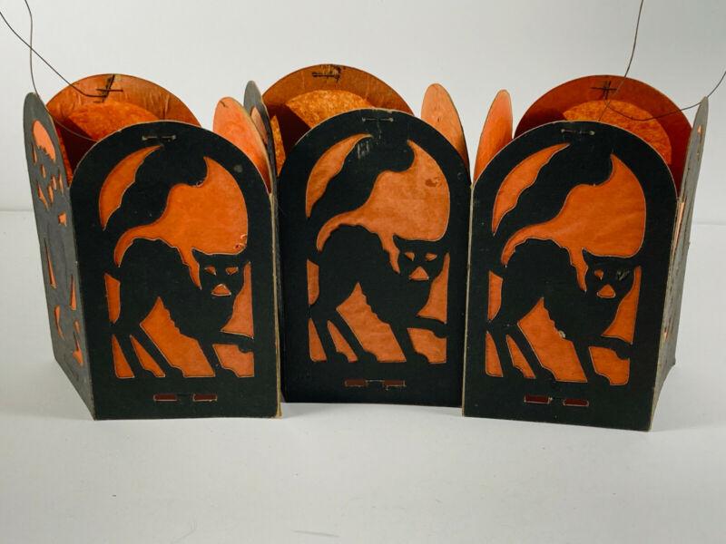 Lot (3) Vintage halloween Beistle? Diecut Paper Lanterns Black Cat Witch Owl