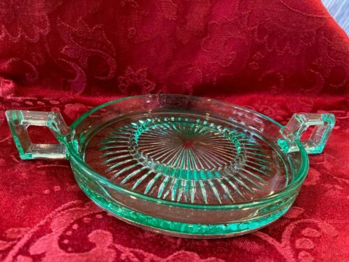 Paden City 323 Domino Sugar Loaf Tray Green Depression Glass
