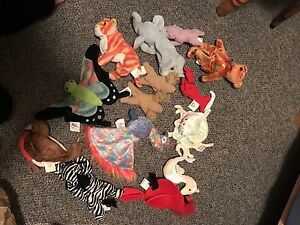 Stuffed animals including beanie babies and cabbage patch dolls