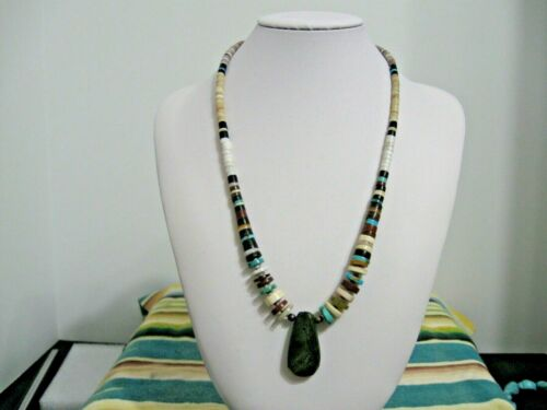Native American Heishi Necklace with Multi stones