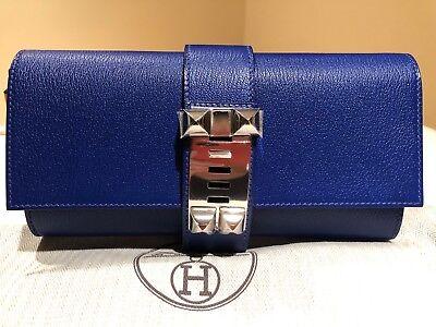 Hermes Medor 23 Clutch Bleu Electrique Chevre Mysore blue electric new bag purse