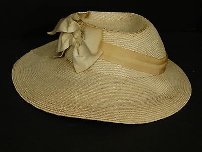 """Antique Pioneer Ladies Bonnet Hat Off White Straw Ribbon Small 18.5"""""""