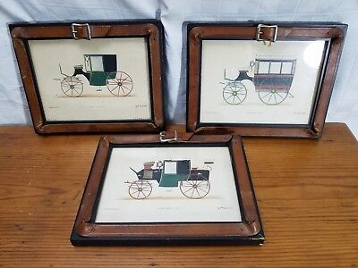 Lot of 3 FRAMED LITHOGRAPH PRINTS OF FRENCH HORSE COACHES Riding Buggy