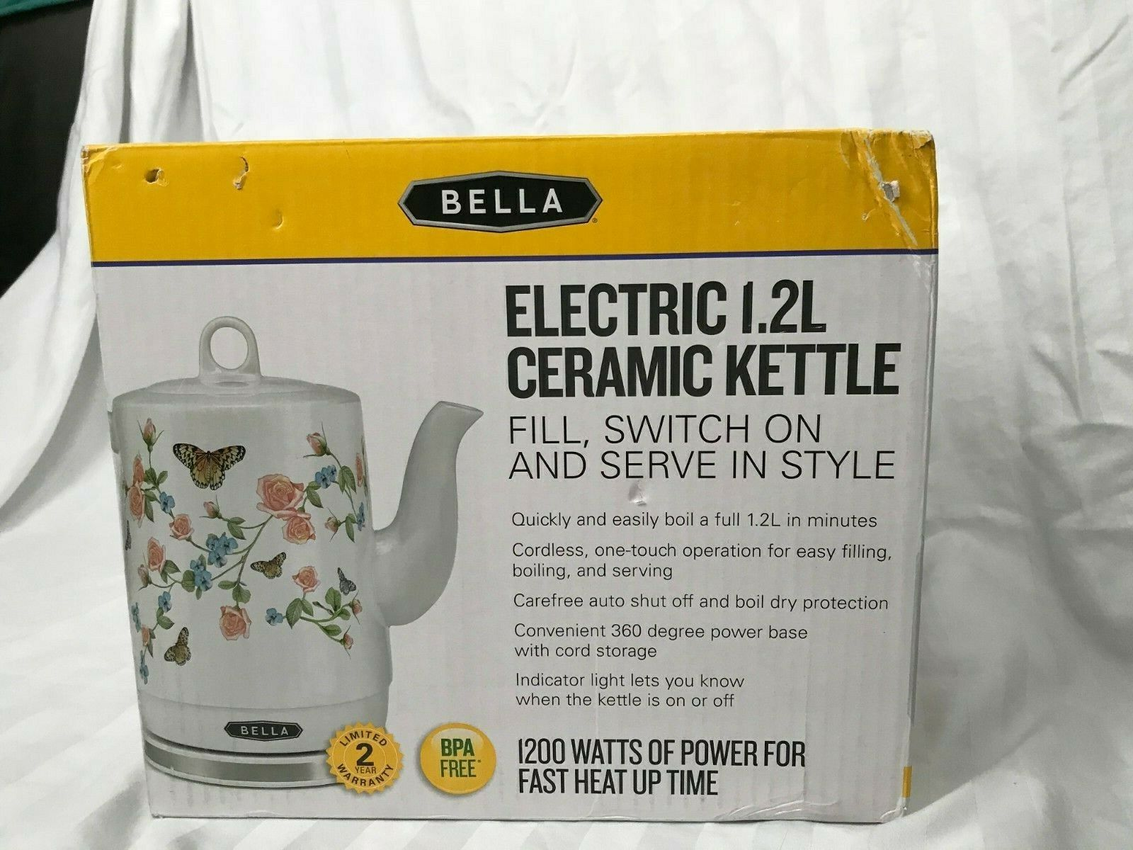 BRAND NEW Bella Electric Tea Pot Ceramic Kettle 1.2 liter In