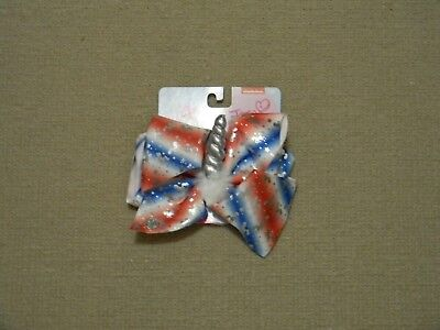 NWT JUSTICE EXCLUSIVE  JOJO SIWA RED WHITE BLUE UNICORN HORN HAIR BOW