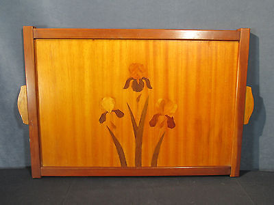 Tray Wooden Inlaid Marquetry Iris Flower Mid Century Vintage 1950s Frame Handle