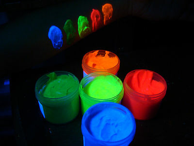UV body paint fluorescent 5 color set blacklight neon glow non-toxic face ()