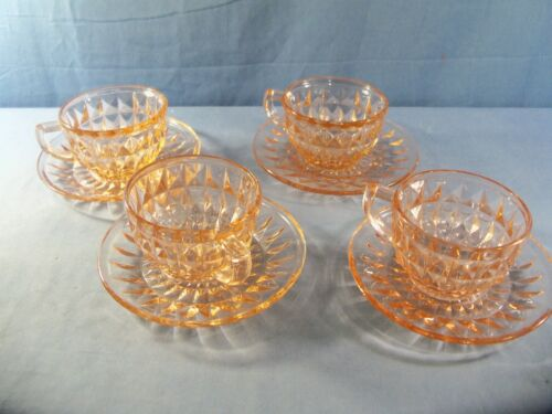 4 Jeannette Glass WINDSOR Pink Depression Glass Cup and Saucer Sets