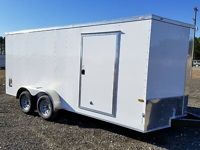 Enclosed Cargo Trailer 7x14 7 X 14 Ta In Stock Ramp V-nose Motorcycle 12 16