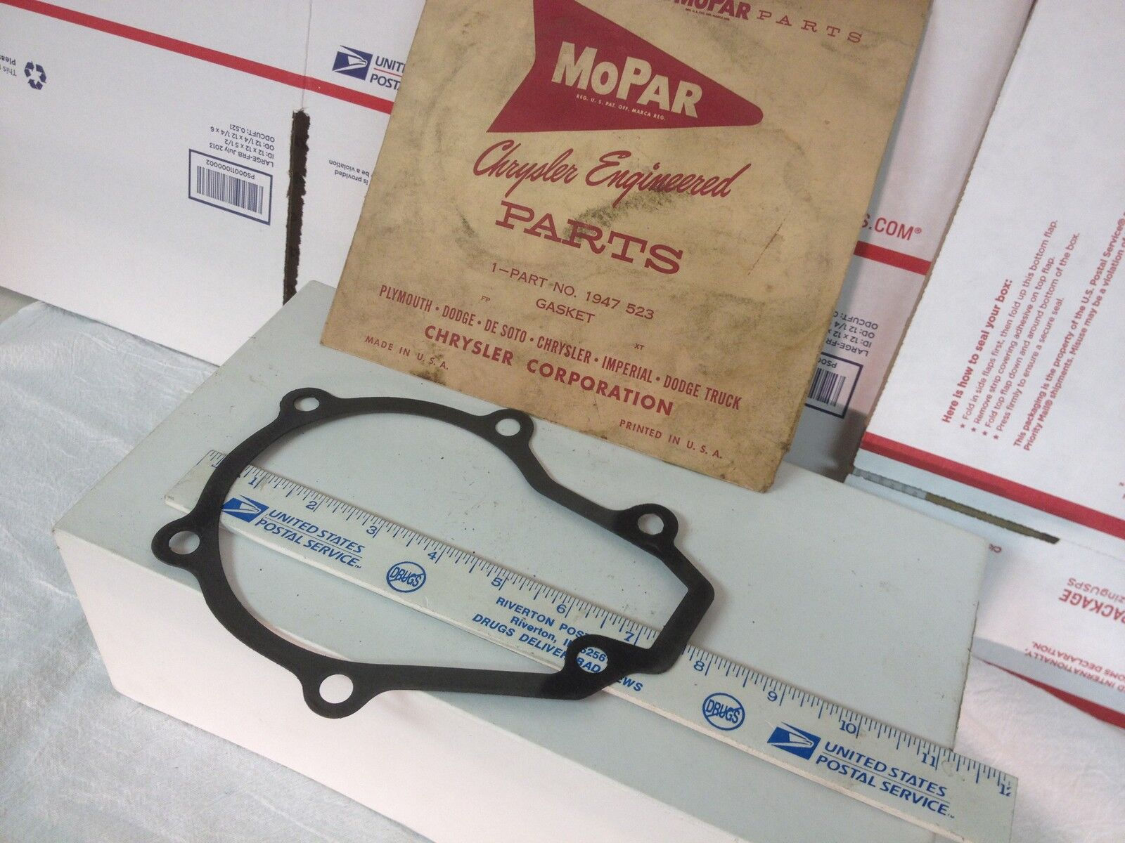 Chrysler products gasket; may be water pump.  NOS.     Item:  5758