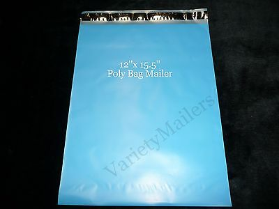 14 Large Blue Poly Bag Mailers 12x15.5 Big Self-sealing Shipping Bags