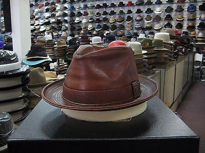 Borsalino Leather - BORSALINO GENUINE LEATHER COGNAC FEDORA HAT (READ DESCRIPTION FOR SIZE)