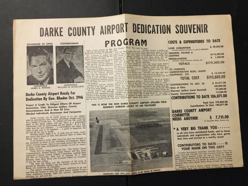 1967 DARKE COUNTY AIRPORT DEDICATION SOUVENIR PROGRAM GREENVILLE VERSAILLES OHIO