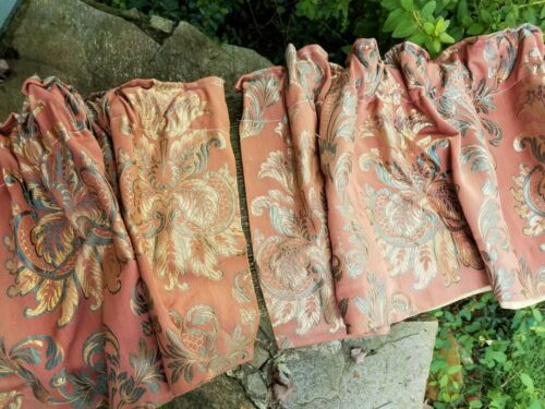 Pair Antique Brocade Valances Drapery Curtain Fabric Salmon Gold Blue/Teal Lined
