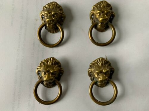 4 Antique Brass Lion Head Drawer Pulls