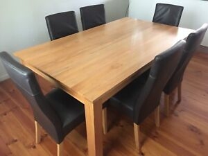 Table and six dining chairs