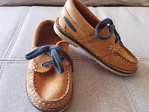Zara Baby Tanned Boat Shoes with Navy Laces Size 21 Taylors Lakes Brimbank Area Preview