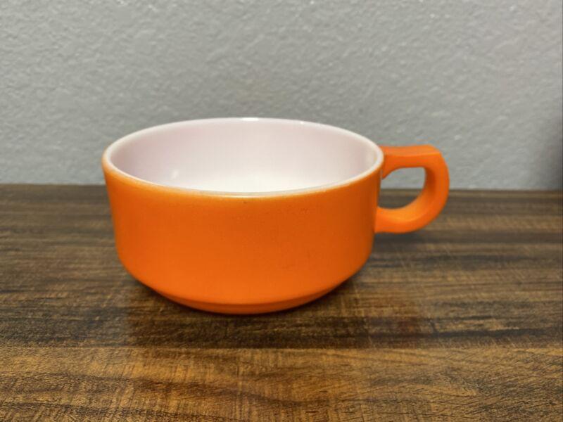 Vintage Mid Century Glasbake Milk Glass Handled Soup Cups Mugs Orange MCM Retro