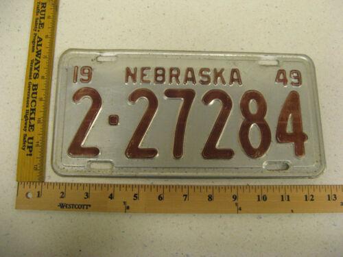 1949 49 NEBRASKA NE LICENSE PLATE  #2-27284 LANCASTER COUNTY