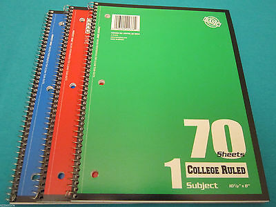 Spiral Notebook1 Subject 70 Sheets College Ruled 3 Spiral Notebooks Lot Of 3