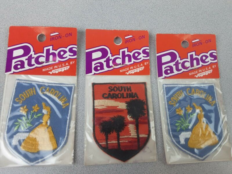 Vintage Voyager South Carolina Iron-On Embroidered Patches - NIP