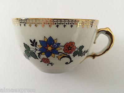 Czechoslovakia Czech China CZE54 Orange Blue Flowers, Gold - TEA CUP for sale  Shipping to Ireland