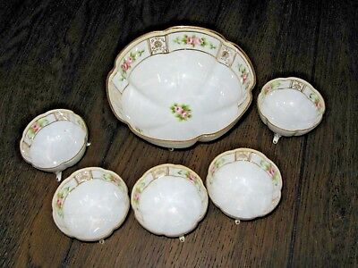 Vintage NIPPON 6 Piece Gilt Fluted Footed NUT Berry BOWL SET - Hand Painted  Fluted Berry Bowl