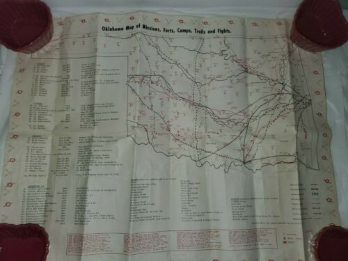 Oklahoma Map of Ghost Towns & Gold Mines,1971, fights, camps and trails 2 sided