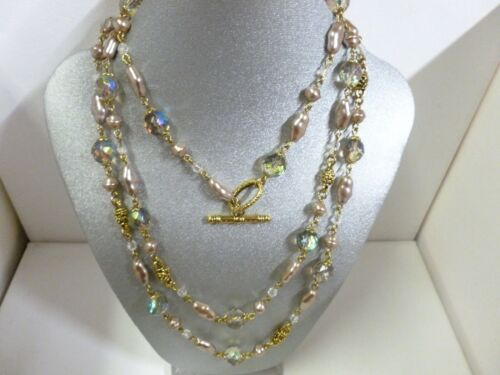 Vintage Ivory Satin Baroque Faux Pearl Colorful AB Crystal Bead Necklace