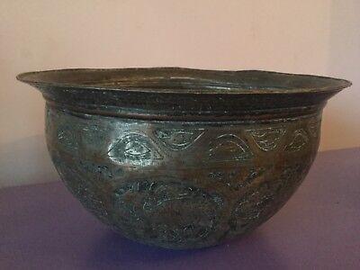 Quality Vintage. Copper planter. Eastern. Indian plant pot Arabic animal design
