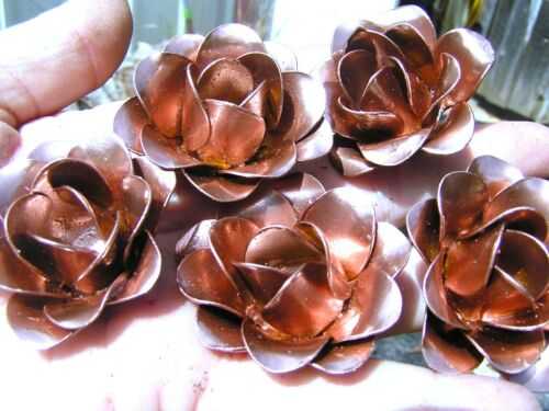 5 medium copper color metal roses, flowers for crafts, jewelry, accents
