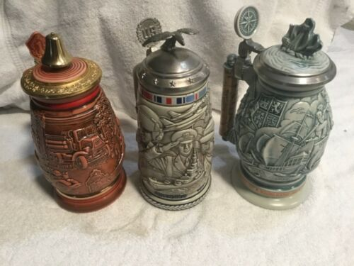 3 AvonCollectible Beer Steins -1989 Firefighter,1990 Armed Forces, 1992 Columbus