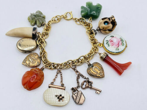 Antique Victorian Charms Gold Filled Bracelet Carnelian Boot Skull Hearts Locket