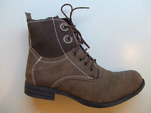 NEW-LADIES-WOMENS-COMBAT-MILITARY-DARK-BROWN-LACED-SYNTHETIC-LEATHER-ANKLE-BOOTS