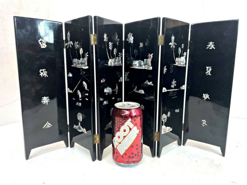 Chinese Black Lacquer MOP Inlaid Painted Deer Folding Table Screen Tea Divider