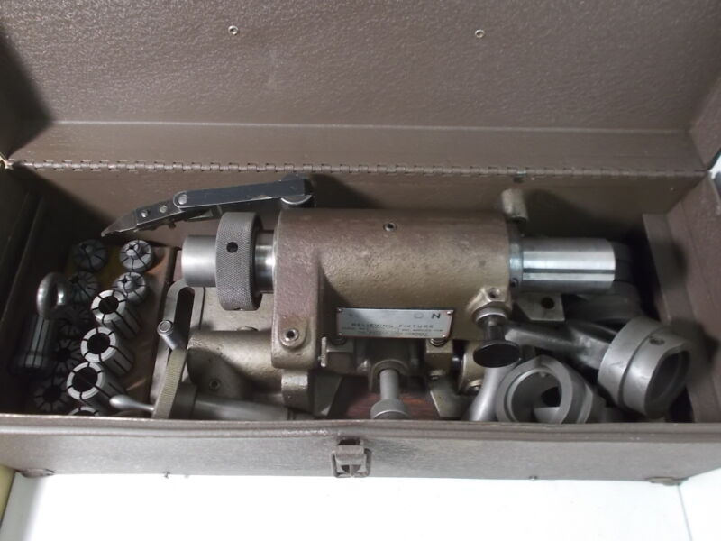 Weldon Model S Relieving Fixture with Collets, Case & Tooling